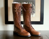 DEADSTOCK / NOS Vintage Polo by Ralph Lauren PRL Equestrian Military Motorcycle Polo Riding Boots Size 8 D.  Made in Italy.