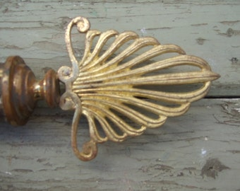 Vintage French Finials,Rod Ends,Pole Ends, Window Hard Ware.  Empire design ,Gilded.