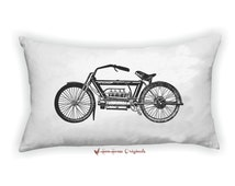Vintage Motorcycle Pillow Cover and Insert, Motorcycle Illustration, Oblong Pillow, Husband Gift, Motorcycle themed Home decor