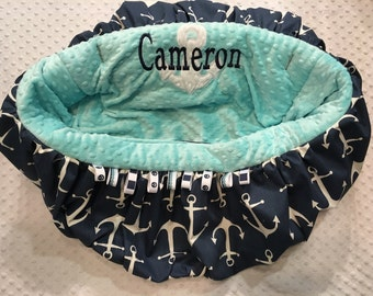 Aqua and Navy Anchor Shopping Cart Cover or Highchair Cover