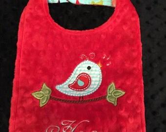 Red Minky Birdie Bib