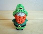 Pocket Leprechaun, Waldorf Style, Hand Knit Leprechan