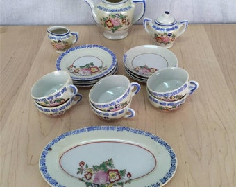 """Collectible Japanese Toy Tea Set, 18 piece, 1950's Japan, midcentury, white and blue pattern 1.25"""" tall cups - fair used condition"""