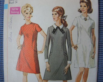 Vintage 1960s Simplicity sewing pattern 7802 dress detachable collar and cuffs size 12