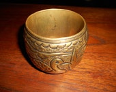 Vintage big brass bangle bracelet with swans made in India