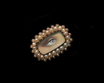 Sandra Hendler Miniature Lover's Eye Painting In Gorgeous Luminous Pearl Victorian Gold Ring