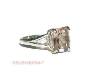 Rose Quartz Ring, Sterling Silver, Emerald Cut Stone