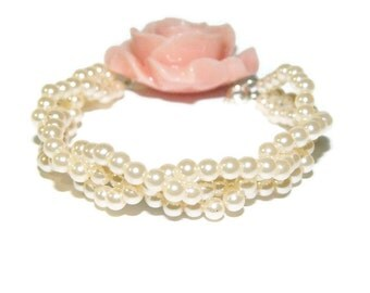 Bridal Bracelet, Pearl Bracelet, Bracelet With Flower, Beaded Bridal Bracelet, Wedding Bracelet
