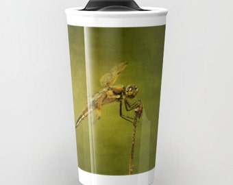 4-Spotted Skimmer Dragonfly travel mug, Photo Travel Mug, Dragonfly Mug, Photography