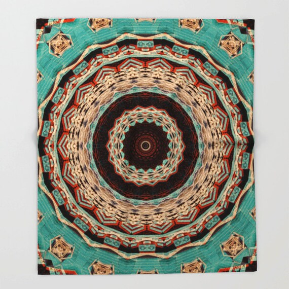 Fleece Throw Blanket, Southwest Mandala Throw Blanket, Photo Throw Blanket, Home Decor, Sherpa Throw, Photography, Digital Art