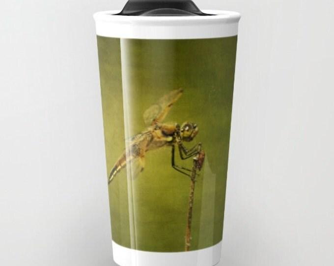 4-Spotted Skimmer Dragonfly travel mug, Photo Travel Mug, Dragonfly Mug, Photography