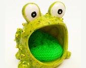 SALE-- Green Frog Scrub, CIJ, green frog, frog scrub,  home decor,  frog dish, soap holder, summer finds