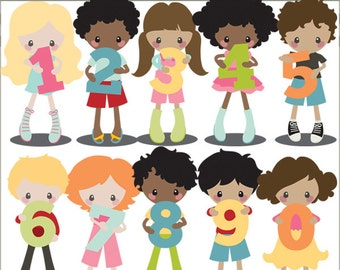 Number Clip Art -Personal and Limited Commercial Use- Kids holding numbers for school clipart