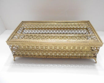 Vintage Faux Brass Rectangular Footed Tissue Box Holder--Removable Lid