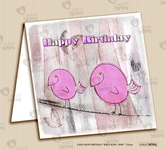 "Printable Happy Birthday Card ""Birds Rope - Pink"" 135 mm"