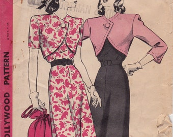 "VERY RARE! FF 30s 40s One Piece Dress with Bolero Vintage Sewing Pattern - Hollywood 1614 - Size 12, Bust 32"" Uncut"