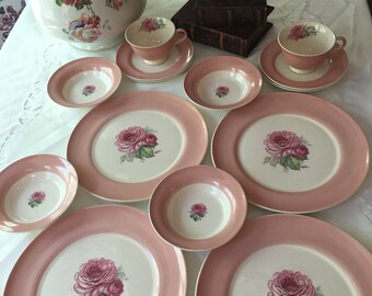 American Limiges Old Fashioned Rose Set 14 pieces