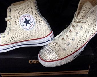 Converse lace High Top Wedding Bone Ivory Cream Crochet Bride Woven w/ Swarovski Crystal Chuck Taylor Rhinestone Bling All Star Sneaker Shoe