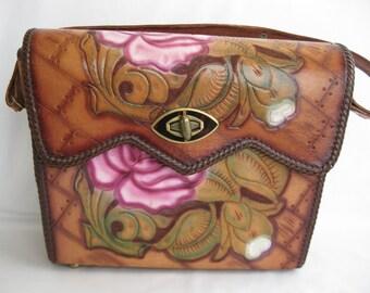 vintage. PURSE. leather. TOOLED. floral. ROSE. pink. 1960s.