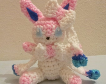Sylveon Inspired Crochet Amigurumi Doll - Stuffed/Plush Toy