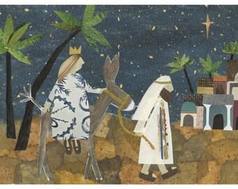 Set of 6 Christmas cards, original folk art, Mary and Joseph, Bethlehem, Christian