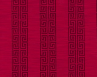 Fuchsia Greek Key Stripe Upholstery Fabric - Geometric Dark Pink Roman Shade - Greek Key Curtain Panels - Two Tone Fuchsia Stripe Fabric