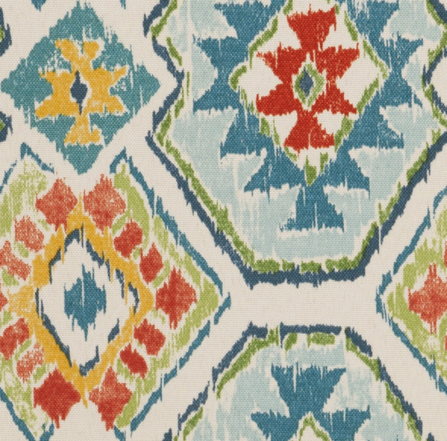 On sale red blue ikat upholstery fabric by the yard ikat for Cloth for sale by the yard