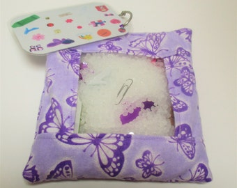 Purple butterfly busy bag, sensory toy, travel activity, quiet activity