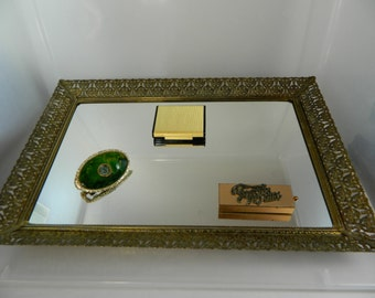 Vintage Vanity Mirror Gold Metal Filigree Mirror, Ormolu, Large Footed Vanity Mirror