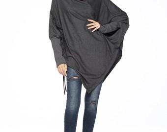 NO.59   Mottled Grey Cotton Jersey  Batwing Tunic, Loose Asymmetrical  Sweater, Women's Top