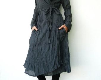 NO.87 Dark Bluish Grey Cotton Crinkle Warp Dress, Long Sleeves Cardigan