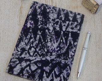 Hardback A5 sketchbook Unique cartridge paper covered with African print 20 plain unlined sheets 40 pages 140gsm - blue purple tye dye batik