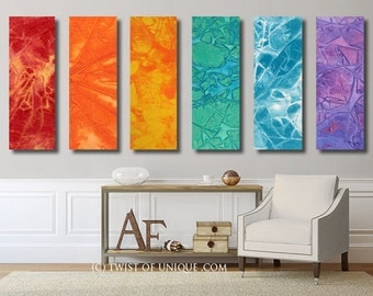Colorful watercolor painting / CUSTOM 6 painting set / 40x13 / Oversized Abstract painting / Red, Orange, Yellow, green, blue, purple,