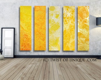 Minimalist Watercolor Painting / CUSTOM  5 painting set  48x10 /  Oversized Abstract Painting/ Twist of unique/ Yellow, White, Orange