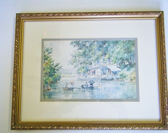 Romance On The River By Artist Paul Sawyier (1865-1917) With Authentication Matted and Framed