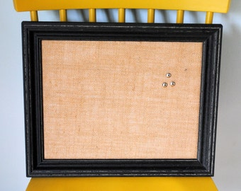 Distressed Black Framed Cork Board Message Board Bulletin Board in Burlap