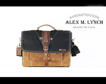 LARGE Waxed Canvas Messenger bag - laptop bag handmade by Alex M Lynch