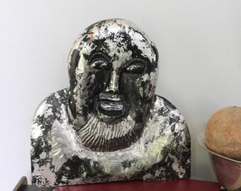 Original vintage folk art hand carved Vintage wood face, Hand carved Face, Hand carved man folk art