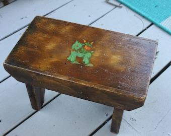 OOAK Green Deer, Yellow Duck, Blue Horse, Sweet vintage hand made wood foot stool,wood step stool,Childrens foot stool,childrens room decor
