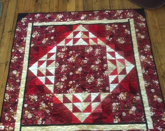 Sale! Deep Red, Black, and Tan Quilt