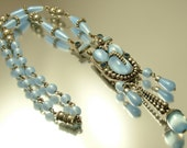 Antique/ vintage Art Deco 1920s 1930s silver plated and satin blue glass, lavalier lariat costume necklace, Max Neiger - jewelry / jewellery