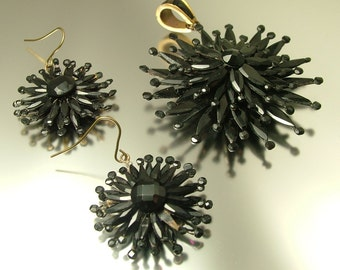Antique/ estate 1800s huge Victorian Vauxhall glass / French jet/ black mourning, pendant and drop earrings- jewelry jewellery UK seller