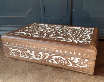 Vintage Carved Wood Box, Jewelry, Mahogany, Storage, Collectible, Home Decor