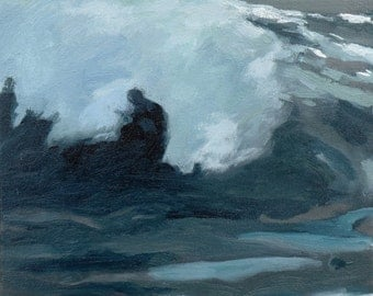 """Homage to Homer  waves oil painting, 12""""X12"""" , art  by Maine artist Adrienne Kernan LaVallee Art & Collectibles"""