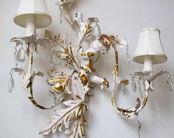 Large cherub tole sconce w/ rhinestones and crystals shabby cottage chic wall lighting angel w/ crown home decor anita spero design