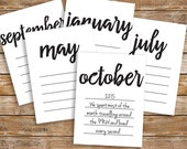 Journaling Cards - Months