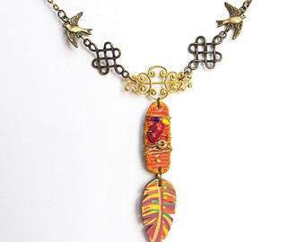 Gypsy Bird Feather Necklace, long boho pendant, Bohemian jewelry