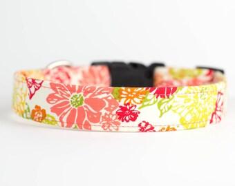 Spring Summer Dog Collar - Citrus Sunshine Floral