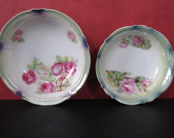 Antique Pair of Small Bowls Accented in Roses