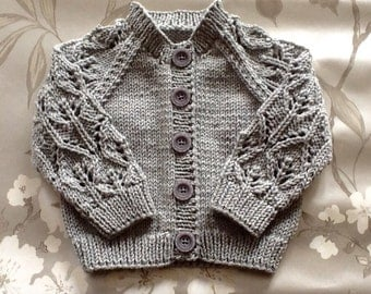 Lovely Leaf Lace cardigan. Hand knitted. Beautiful pale grey baby cardigan. Grey baby sweater. Cotton baby sweater. Made to order.